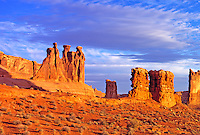 Towers of Arches, Arches National Park, Utah   Sunrise view of Three Gossips, Courthouse Towers, and Sheep Rock