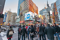 An electronic billboard in Times Square in New York, owned by CBS Outdoor America, shows advertising for CBS television programs on Tuesday, March 18, 2014. CBS announced that it will spin off its outdoor advertising unit, CBS Outdoor America in an initial public offering valuing the company at $3.3 billion. CBS Outdoor has approximately 330,000 billboards in the United States with 47% in New York. After the IPO CBS will still own 83% of the company. (© Richard B. Levine)