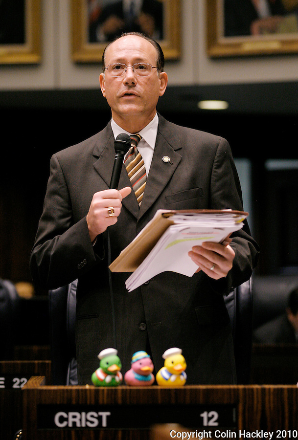 TALLAHASSEE, FLA. 4/30/10-SESSIONEND 43010 CH05-Sen. Victor Crist, R-Tampa, has his ducks in a row for the final scheduled day of the legislative session Friday at the Capitol in Tallahassee...COLIN HACKLEY PHOTO