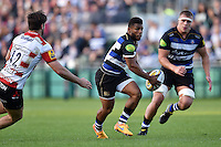 Kyle Eastmond of Bath Rugby in possession. West Country Challenge Cup match, between Bath Rugby and Gloucester Rugby on September 26, 2015 at the Recreation Ground in Bath, England. Photo by: Patrick Khachfe / Onside Images