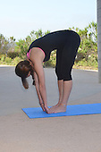Stock photo of a young woman doing yoga