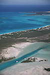 Aerial view of the Exumas in the Bahamas Out Islands, Staniel Cay