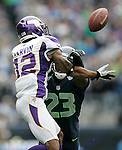 Seattle Seahawks cornerback Marcus Trufant defends Minnesota Vikings wide receiver Percy Harvin at CenturyLink Field in Seattle, Washington on  November 4, 2012.  The Seahawks beat the Vikings 30-20.    ©2012. Jim Bryant Photo. All Rights Reserved.