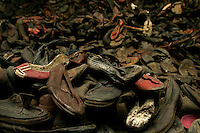 Shoes taken from people sent to the Auschwitz Nazi concentration camp, now part of the museum at the site. It is estimated that between 1.1 and 1.5 million Jews, Poles, gypsies and others were killed here in the Holocaust between 1940-1945.