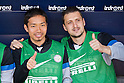 "(L-R) Yuto Nagatomo, Zdravko Kuzmanovic (Inter), APRIL 14, 2013 - Football / Soccer : Yuto Nagatomo of Inter sits on the bench during the Italian ""Serie A"" match between Cagliari 2-0 Inter Milan at Stadio Nereo Rocco in Trieste, Italy. (Photo by Enrico Calderoni/AFLO SPORT)"