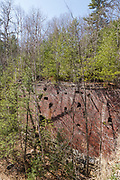Remnants of the Mill at Livermore Falls along the Pemigewasset River in Campton, New Hampshire USA. This was a pulp mill.