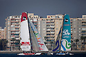 8th October  2010. Almeria. Spain..Pictures of Oman Sail Masirah EX40 skippered by Loick Peyron and Emirates Team New Zealand skippered by Dean Barker in action during the press day.