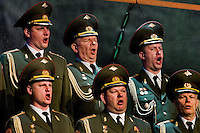 Singers of the Russian Army Choir ?Alexandrov Ensemble? perform during a concert given in Loket, Czech Republic, 14 June 2009. Alexandrov Ensemble (established in 1928) is the official army choir of the Russian armed forces (Red Army). The ensemble consists of a male choir, a music orchestra and a dance ensemble. The music repertoire of Alexandrov Ensemble range from traditional Russian balalaika tunes to church hymns, Italian opera arias and pop music songs.