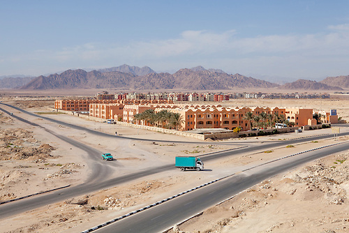 Sharm el Sheikh, Sinai, January 2015. Whereas the coast of Sharm has reached the limits of construction capacity, the city is extending toward the desert, with even more hotels, but also housing compounds for the seasonal staff.