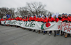 Jan. 25, 2013; University of Notre Dame students carry the official banner while leading the 2013 March for Life in Washington, D.C. Photo by Barbara Johnston/University of Notre Dame