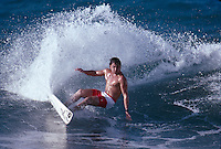 Ross Clarke Jones (AUS) surfing Off The Wall during a winter season on the North Shore Oahu, Hawaii. Circa 1990. Photo: joliphotos.com