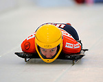 14 December 2007: Annie O'Shea, racing for the USA, starts her second run of the FIBT World Cup Skeleton Competition at the Olympic Sports Complex on Mount Van Hoevenberg, at Lake Placid, New York, USA. ..Mandatory Photo Credit: Ed Wolfstein Photo