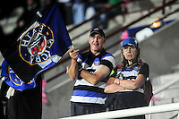Bath Rugby fans in the crowd show their support during the pre-match warm-up. European Rugby Challenge Cup match, between Pau (Section Paloise) and Bath Rugby on October 15, 2016 at the Stade du Hameau in Pau, France. Photo by: Patrick Khachfe / Onside Images