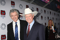 "LOS ANGELES - APR 12:  Patrick Duffy, Larry Hagman arrives at Warner Brothers ""Television: Out of the Box"" Exhibit Launch at Paley Center for Media on April 12, 2012 in Beverly Hills, CA"