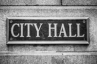 Chicago City Hall Sign in Black and White