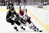 Lee Stempniak (Phoenix Coyotes, #22) vs Justin Williams (Los Angeles Kings, #14) during ice-hockey match between Los Angeles Kings and Phoenix Coyotes in NHL league, March 3, 2011 at Staples Center, Los Angeles, USA. (Photo By Matic Klansek Velej / Sportida.com)