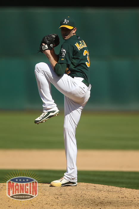 OAKLAND, CA - SEPTEMBER 3: Brandon McCarthy #32 of the Oakland Athletics pitches against the Seattle Mariners during the game at O.co Coliseum on September 3, 2011 in Oakland, California. Photo by Brad Mangin