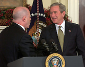 Washington, D.C. -- December 3, 2004 --  United States President George W. Bush names former New York City Police Commissioner Bernard Kerik to be United States Secretary for Homeland Security in the Roosevelt Room at the White House in Washington, D.C. on December 3, 2004.  Kerik replaces Tom Ridge..Credit: Ron Sachs / CNP