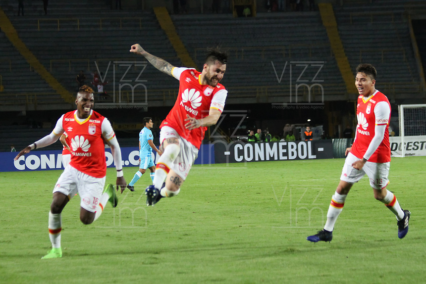 BOGOTA -COLOMBIA, 4-03-2017.    Jonathan Gomez player of Independiente Santa Fe of Colombia  celebrates his goal agaisnt of  Sporting Cristal of Peru during match for the date 2   for the Conmebol Libertadores Bridgestone Cup 2017 played at Nemesio Camacho El Campin stadium . Photo:VizzorImage / Felipe Caicedo  / Staff