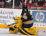 2/12/05  Omaha, NE MIchigan goalie Al Montoya (photo by Chris Machian/ Prarie Pixel Group)