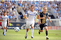 Davy Arnaud (22) of the Kansas City Wizards is chased by Justin Mapp (22) of the Philadelphia Union. The Philadelphia Union and the Kansas City Wizards played to a 1-1 tie during a Major League Soccer (MLS) match at PPL Park in Chester, PA, on September 04, 2010.
