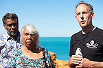 Bob Brown during a Press Conference with Jo and Teresa Roe, traditional owners.