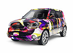 Custom painted 2013 Kia Soul compact car isolated on white background with clipping path