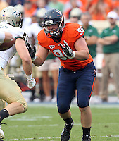 Sept. 3, 2011 - Charlottesville, Virginia - USA; Virginia Cavaliers defensive end Jake Snyder (90) during an NCAA football game against William & Mary at Scott Stadium. Virginia won 40-3. (Credit Image: © Andrew Shurtleff
