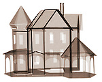X-ray image of a paper house (brown on white) by Jim Wehtje, specialist in x-ray art and design images.