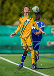 28 September 2013: University of Vermont Catamount Midfielder Jackson Dayton, a Freshman from San Francisco, CA, in action against the Hartwick College Hawks at Virtue Field in Burlington, Vermont. The Catamounts shut out the visiting Hawks 1-0. Mandatory Credit: Ed Wolfstein Photo *** RAW (NEF) Image File Available ***