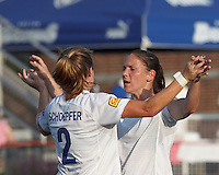 Boston Breakers forward Katie Schoepfer (2) celebrates first of three goals with teammate. In a Women's Premier Soccer League Elite (WPSL) match, the Boston Breakers defeated Western New York Flash, 3-2, at Dilboy Stadium on May 26, 2012.