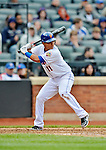 11 April 2012: New York Mets shortstop Ruben Tejada at bat during game action against the Washington Nationals at Citi Field in Flushing, New York. The Nationals shut out the Mets 4-0 to take the rubber match of their 3-game series. Mandatory Credit: Ed Wolfstein Photo