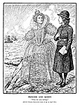 """Princess and Queen. """"There lies your heritage."""" [HRH Princess Elizabeth comes of age on April 21st.] (Princess Elizabeth wears a Sea Rangers hat as the ghost of Elizabeth I points to the British navy of battleships)"""