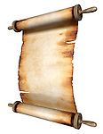 Stock photo-illustration of a Blank unfolded vintage roll of yellowish burnt parchment isolated over white background Vertical