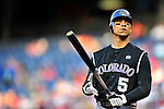 22 April 2010: Colorado Rockies' left fielder Carlos Gonzalez in action against the Washington Nationals at Nationals Park in Washington, DC. The Rockies shut out the Nationals 2-0 gaining a 2-2 series split. Mandatory Credit: Ed Wolfstein Photo