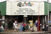 Entrance to the Excuartel handicrafts market in downtown San Salvador, El Salvador