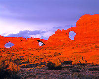 Sunset Stormlight on the Windows, Arches National Park, Utah   North and South Windows and Turret Arch
