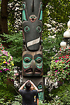 Downtown Seattle at Pioneer Square with totems, native american Art form