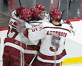Desmond Bergin (Harvard - 37), Colin Blackwell (Harvard - 63), Sean Malone (Harvard - 17), Clay Anderson (Harvard - 5) - The Harvard University Crimson defeated the visiting Rensselaer Polytechnic Institute Engineers 5-2 in game 1 of their ECAC quarterfinal series on Friday, March 11, 2016, at Bright-Landry Hockey Center in Boston, Massachusetts.