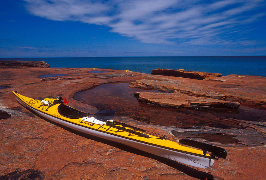 A sea kayak rests on the north shoreline of Devils Island in the Apostle Islands National Lakeshore near Bayfield, Wis.