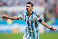 Lionel Messi of Argentina celebrates scoring a goal after making it 2-1