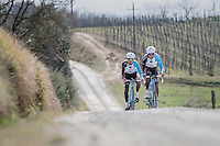 Team AG2R-LaMondiale during the 2017 Strade Bianche recon (the day before the race)