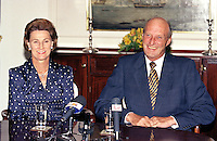 """King Harald, and Queen Sonja of Norway, State Visit to Latvia, Press meeting on The Royal Yacht """" Norge """""""