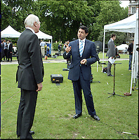 UK. London. From a story on Abingdon Street Gardens, a small patch of land, often referred to as College Green, that lies next to The Houses of Parliament in Westminster. It is a place where the media and the politicians come face to face. Interviews are held, photo shoots are set up and bewildered tourists stroll by..Photo shows Liberal Democrat Leader Menzies Campbell..Photo©Steve Forrest/Workers Photos