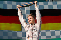 March 20, 2016: Nico Rosberg (DEU) #6 from the Mercedes AMG Petronas team celebrates winning the 2016 Australian Formula One Grand Prix at Albert Park, Melbourne, Australia. Photo Sydney Low