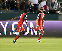 CARSON, CA – June 11, 2011: Toronto FC forward Alan Gordon (21) celebrates his second goal during the match between LA Galaxy and Toronto FC at the Home Depot Center in Carson, California. Final score LA Galaxy 2, Toronto FC 2.