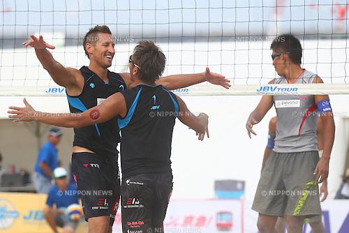 (L-R)<br /> Koichi Nishimura &amp; Ty loomis,<br /> Shinya Hata &amp; Satoshi Watanabe,<br /> SEPTEMBER 21, 2015 - Beach Volleyball : <br /> JBV Tour 2015 Tokyo Open<br /> Men's Final<br /> at Odaiba Beach, Tokyo, Japan.<br /> (Photo by Shingo Ito/AFLO SPORT)