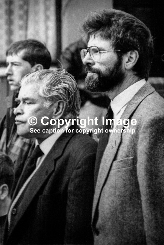 Sinn Fein president Gerry Adams at the funeral of his mother Annie on 8th September 1992. Also in the photo is his father, Gerry Adams, senior. 199209080001GA..Copyright Image from Brendan Murphy c/o Victor Patterson, 54 Dorchester Park, Belfast, UK, BT9 6RJ..Tel: +44 28 9066 1296.Mob: +44 7802 353836.Voicemail +44 20 8816 7153.Skype: victorpattersonbelfast.Email: victorpatterson@me.com.Email: victorpatterson@ireland.com (back-up)..IMPORTANT: If you wish to use this image or any other of my images please go to www.victorpatterson.com and click on the Terms & Conditions. Then contact me by email or phone with the reference number(s) of the image(s) concerned.
