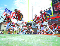 The Terrapins enter the field priort to kick-off. Maryland defeated FIU 42-28 during a game at Capital One Field at Byrd Stadium in College Park, MD on Saturday, September 25, 2010. Alan P. Santos/DC Sports Box