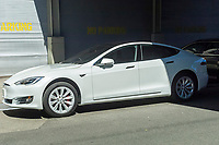 A Tesla Model S outside the Tesla Motors showroom in the trendy gallery district of West Chelsea in New York on Saturday, April 8, 2017. (© Richard B. Levine)
